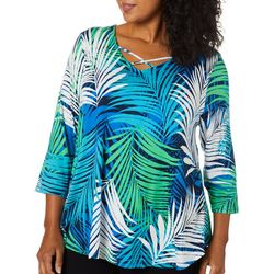 Ruby Road Favorites Plus Palm Print Crisscross Neck Top