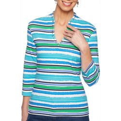 Ruby Road Favorites Plus Watercolor Stripe Funnel Neck Top