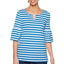 Ruby Road Favorites Plus Striped Bell Sleeve Keyhole Top
