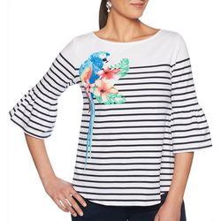 Ruby Road Favorites Plus Parrot Striped Bell Sleeve Top
