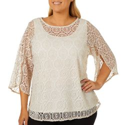 Ruby Road Favorites Plus Crochet Overlay Top