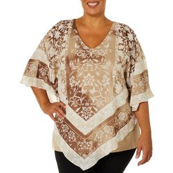 Ruby Road Favorites Plus Woven Border Floral Poncho Top