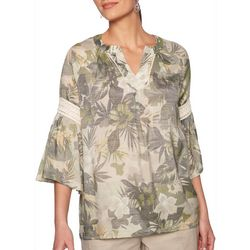 Ruby Road Favorites Plus Tropical Floral Bell Sleeve Top