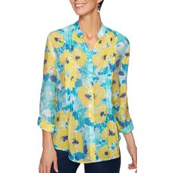Ruby Road Favorites Plus Floral Illusion Pleated Top