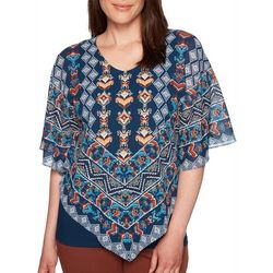 Ruby Road Favorites Plus Aztec Print Poncho Top