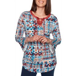 Ruby Road Favorites Plus Geo Patchwork Split Neck Top