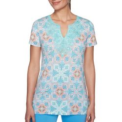 Ruby Road Favorites Plus Floral Print Lace Neck Top