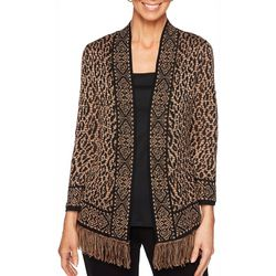 Ruby Road Favorites Plus Animal Print Open Front Cardigan