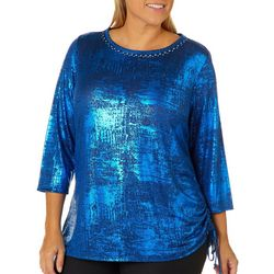 Ruby Road Favorites Plus Foil Side Ruched Top