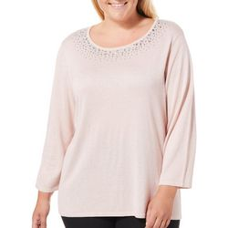 Ruby Road Favorites Plus Embellished Metallic Sweater