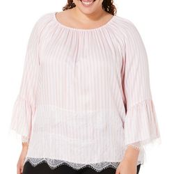 Ruby Road Favorites Plus Striped Lace Off The Shoulder Top