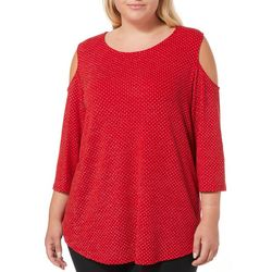 Ruby Road Favorites Plus Glitzy Cold Shoulder Top