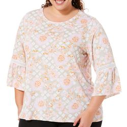 Ruby Road Favorites Plus Floral Puff Print Bell Sleeve Top