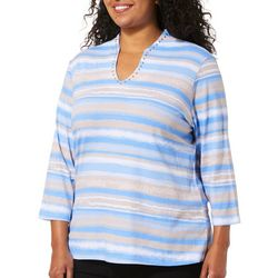 Ruby Road Favorites Plus Jeweled Stripe Funnel Neck Top