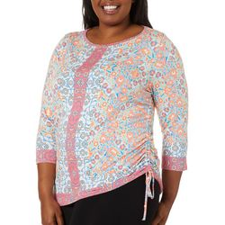 Ruby Road Favorites Plus Ruched Stained Glass Print Top