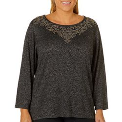 Ruby Road Favorites Plus Scroll Neck Metallic Sweater