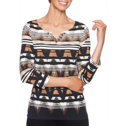 Ruby Road Favorites Plus Stripe Jewel Neck Top