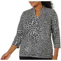 Ruby Road Favorites Plus Leopard Print Funnel Neck Top