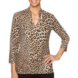 Ruby Road Favorites Plus Leopard Print Funnel Neck Top