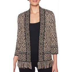Ruby Road Favorites Textured Print Open Front Cardigan
