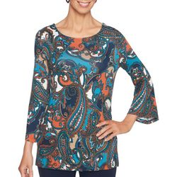Ruby Road Favorites Plus Paisley Bell Sleeve Top