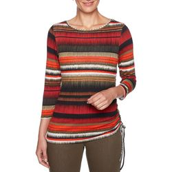 Ruby Road Favorites Plus Striped Ruched Top