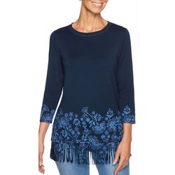 Ruby Road Favorites Plus Flower Border Print Fringe Top
