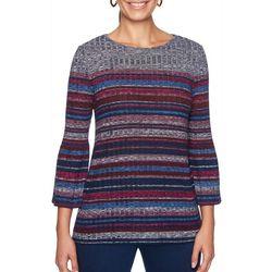 Ruby Road Favorites Plus Stripe Print Flounce Sleeve Top