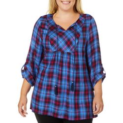 Ruby Road Favorites Plus Metallic Plaid Tassel Tie Top