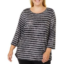 Ruby Road Favorites Plus Tie Dye Stripe Embellished Top