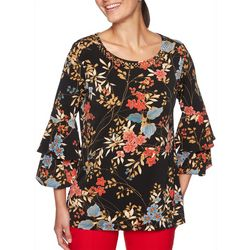 Ruby Road Favorites Plus Embellished Floral Ruffle Top