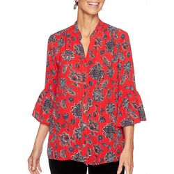Ruby Road Favorites Plus Metallic Floral Button Down Top