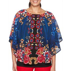 Ruby Road Favorites Plus Floral Striped Poncho Top