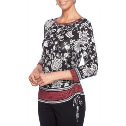 Ruby Road Favorites Plus Embellished Border Print Top