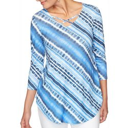 Ruby Road Favorites Plus Tie Dye Stripe Crisscross Top