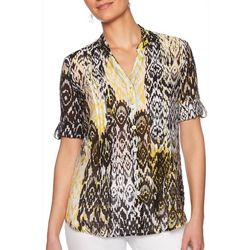 Ruby Road Favorites Plus Ikat Print Gauze Button Down Top