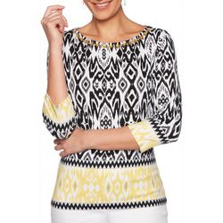 Ruby Road Favorites Plus Border Print Jewel Neck Top