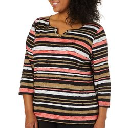Ruby Road Favorites Plus Striped Jewel Neck Top