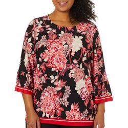 Ruby Road Favorites Plus Floral Print Bell Sleeve Top