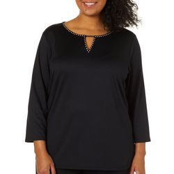 Ruby Road Favorites Plus Embellished Keyhole Neck Top