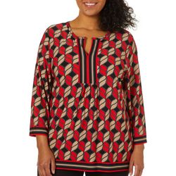 Ruby Road Favorites Plus Abstract Print Tunic Top