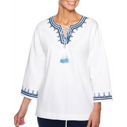 Ruby Road Favorites Plus Embroidered Tassel Top