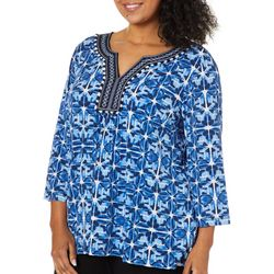 Ruby Road Favorites Plus Embroidered Geo Print Top
