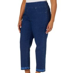 Ruby Road Favorites Plus Embroidered Hem Pull On Jeans