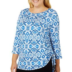Ruby Road Favorites Plus Ruched Tile Print Boat Top