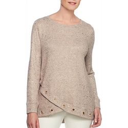 Ruby Road Favorites Plus Grommet Hem Metallic Sweater