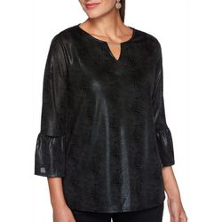 Ruby Road Favorites Plus Foil Solid Bell Sleeve Top