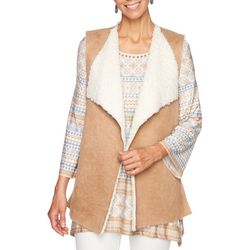 Ruby Road Favorites Plus Sherpa Lined Faux Suede Vest
