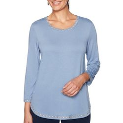 Ruby Road Favorites Plus Solid Embellished Round Neck Top