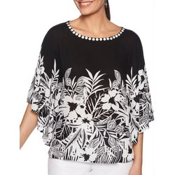 Ruby Road Favorites Plus Tropical Floral Poncho Top